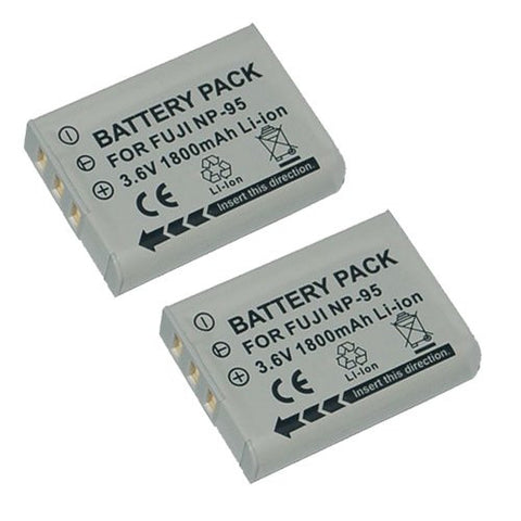 ValuePack (2 Count): Extended Performance Replacement Battery for Specific Digital Camera and Camcorder Models / Compatible with FujiFilm NP-95, FinePix F30, F31fd, REAL 3D W1, X100