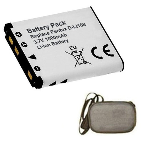 Extended Life Replacement Battery for Specific Digital Camera and Camcorder Models / Compatible with Pentax D-Li108, D-Li63, Optio: L36, L40, LS465, LS1000, LS1100, M30, M40, M90, M900, RS1000, RS1500, NB1000, T30, V10, W30 - Includes Hard Case Camera Bag