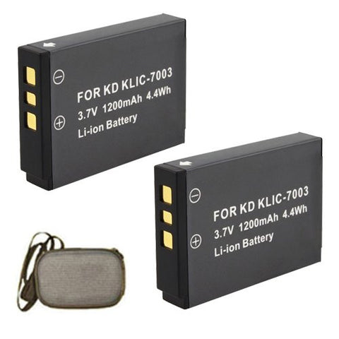ValuePack (2 Count): Extended Life Replacement Battery for Specific Digital Camera and Camcorder Models / Compatible with Kodak KLIC-7003, EasyShare M381, V1003, V803, Z950, M380 - Includes Hard Case Camera Bag