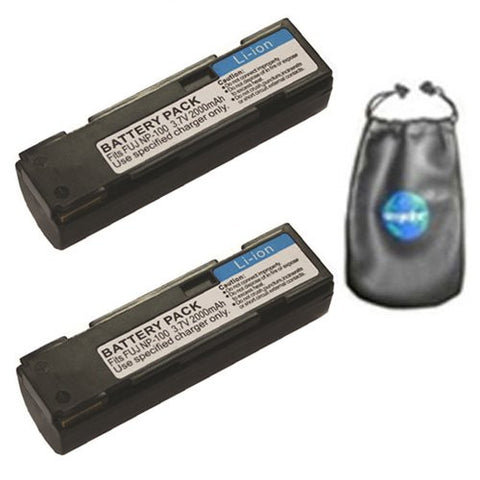 ValuePack (2 Count): Digital Replacement Battery for Specific Digital Camera and Camcorder Models / Compatible with FujiFilm NP-100, FinePix MX-600, MX-600X, MX-600Z, MX-700, DS260 - Includes Leatherette Camera / Lens Accessories Pouch