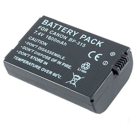 Extended Performance Replacement Battery for Specific Digital Camera and Camcorder Models / Compatible with Canon BP-308, BP-308B, BP-308S, BP-310, BP-310B, BP-310S, BP-315, HV10, IXY DVM5, MVX4i, Optura 600