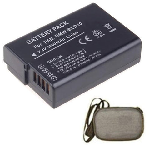 Extended Life Replacement Battery for Specific Digital Camera and Camcorder Models / Compatible with Panasonic DMW-BLD10, DMW-BLD10E, DMW-BLD10PP, Lumix DMC-GX1, Lumix DMC-G3, Lumix DMC-GF2 - Includes Hard Case Camera Bag