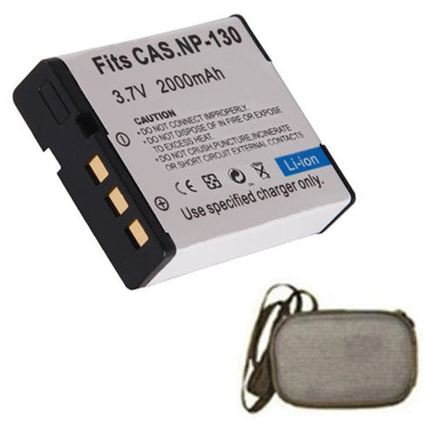 Extended Life Replacement Battery for Specific Digital Camera and Camcorder Models / Compatible with Casio NP-130, NP130, Exilim EX-H30, EXH30, H30, Exilim EX-ZR100, EXZR100, ZR100, Exilim EX-H30BK, EXH30BK, H30BK - Includes Hard Case Camera Bag