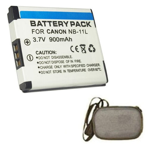 Extended Life Replacement Battery for Specific Digital Camera and Camcorder Models / Compatible with Canon NB-11L, IXUS 125HS, IXUS 240HS, PowerShot A2300, PowerShot A2400, PowerShot A3400, PowerShot A4000 - Includes Hard Case Camera Bag