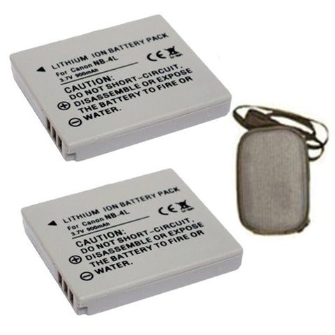 ValuePack (2 Count): Extended Life Replacement Battery for Specific Digital Camera and Camcorder Models / Compatible with Canon NB-4L, Digital 50/40, Digital IXUS 30, Digital IXUS 40, Power Shot SD200, Power Shot SD300 - Includes Hard Case Camera Bag