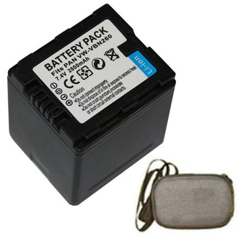 Extended Life Replacement Battery for Specific Digital Camera and Camcorder Models / Compatible with Panasonic VW-VBN260, VW-VBN130, HC-X800, HC-X900, HC-X900M, SD800, HS900, SD900, TM900 - Includes Hard Case Camera Bag