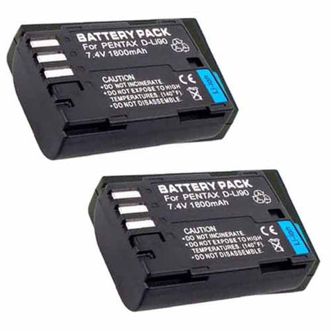 ValuePack (2 Count): Extended Performance Replacement Battery for Specific Digital Camera and Camcorder Models / Compatible with Pentax D-LI90, DLi90, K-5, K-5II, K-5IIs, K-7, K-01, 645D