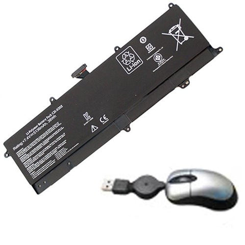 Amsahr® Replacement Battery for ASUS VivoBook X201E, S200E, X202E, C21-X202 (2 Cell, 5000 mAh) - Includes Mini Optical Mouse