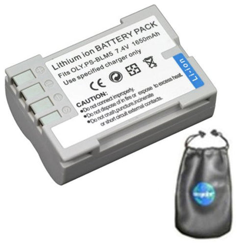 Digital Replacement Battery for Specific Digital Camera and Camcorder Models / Compatible with Olympus BLM-5, DSLR E-3, E-30, E5 - Includes Leatherette Camera / Lens Accessories Pouch