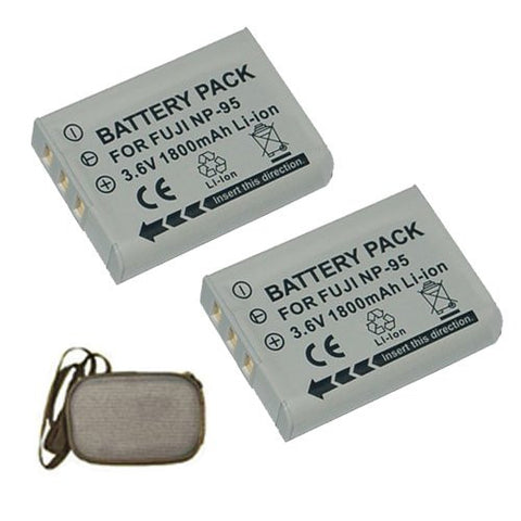 ValuePack (2 Count): Extended Life Replacement Battery for Specific Digital Camera and Camcorder Models / Compatible with FujiFilm NP-95, FinePix F30, F31fd, REAL 3D W1, X100 - Includes Hard Case Camera Bag