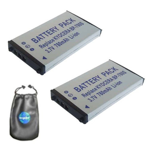 ValuePack (2 Count): Digital Replacement Battery for Specific Digital Camera and Camcorder Models / Compatible with Kyocera BP-780S, Finecam SL300R, Kyocera Finecam SL400R, Kyocera Contax SL300RT - Includes Leatherette Camera / Lens Accessories Pouch