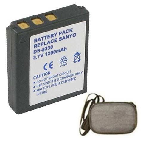 Extended Life Replacement Battery for Specific Digital Camera and Camcorder Models / Compatible with Sanyo DS-8330, DS8330, VPC-E1000, VPC-W800 - Includes Hard Case Camera Bag