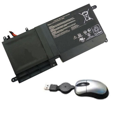 Amsahr® Replacement Battery for ASUS C22-UX42, UX42, ZENBOOK (6 Cell, 6140 mAh) - Includes Mini Optical Mouse