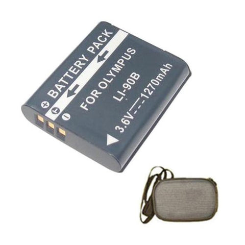 Extended Life Replacement Battery for Specific Digital Camera and Camcorder Models / Compatible with Olympus Li-90B, SH-50 iHS, Tough TG-1 iHS, Tough TG-2 iHS, XZ-2 - Includes Hard Case Camera Bag