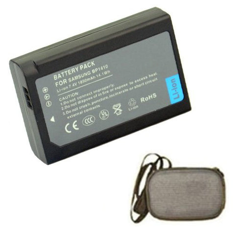 Extended Life Replacement Battery for Specific Digital Camera and Camcorder Models / Compatible with Samsung IA-BP1410, BP-1410, BP1410, WB2200F, NX30 - Includes Hard Case Camera Bag