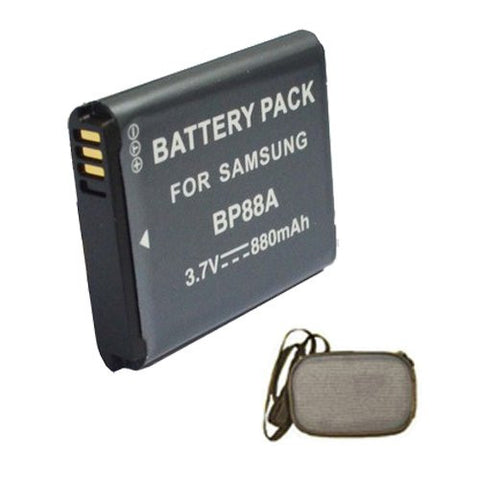 Extended Life Replacement Battery for Specific Digital Camera and Camcorder Models / Compatible with Samsung BP-88A, DV200, DV300, DV300F - Includes Hard Case Camera Bag