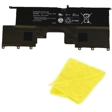 Amsahr® Replacement Battery for Sony VGP-BPS38, PRO11, PRO13, P132200C, P11226SCBI, P13227SC, P13226SC, P132200C, SVP13218SC, SVP13217SC (4 Cell, 4740 mAh) - Includes Cleaning Cloth