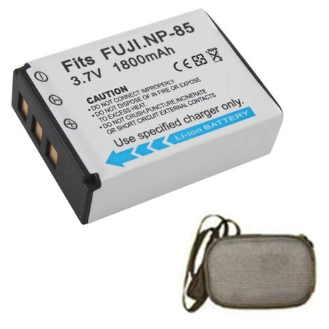 Extended Life Replacement Battery for Specific Digital Camera and Camcorder Models / Compatible with Fujifilm NP-85, FinePix SL240, SL260, SL280, SL300, SL305 - Includes Hard Case Camera Bag