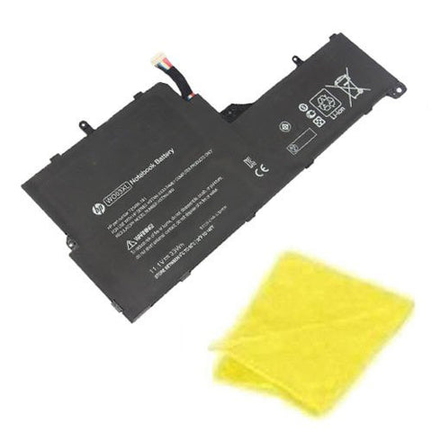Amsahr® Replacement Battery for HP WO03XL, WO03XL, HSTNN-IB5I, 725496-1B1 (33Wh, 3 Cells) - Includes Cleaning Cloth