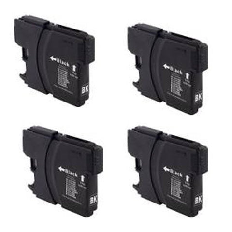 Brother LC61BK, DCP-165C Remanufactured Replacement Ink Cartridges - Includes FOUR BLACK Cartridges