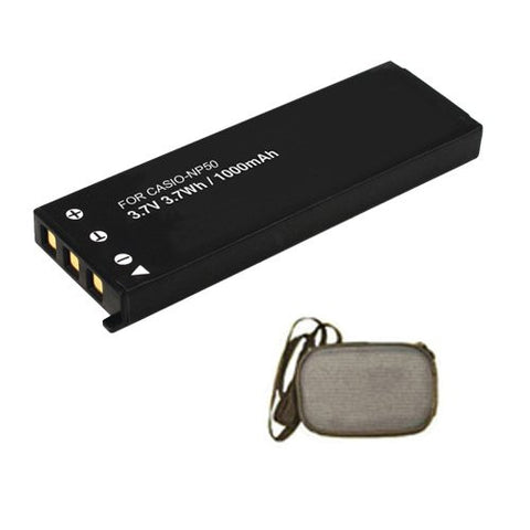 Extended Life Replacement Battery for Specific Digital Camera and Camcorder Models / Compatible with Casio NP-50, NP-50DBA, Exilim EX-V8, Exilim EX-V8SR, Exilim EX-V7, Exilim EX-V7SR - Includes Hard Case Camera Bag
