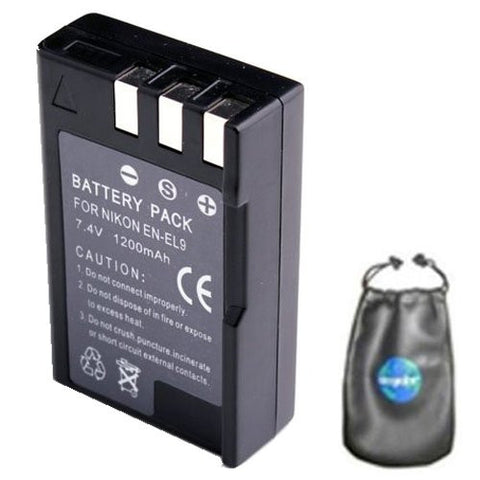 Digital Replacement Battery for Specific Digital Camera and Camcorder Models / Compatible with Nikon EN-EL9, EN-EL9a, EN-EL9e, D3000, D40, D40x, D5000, D60 - Includes Leatherette Camera / Lens Accessories Pouch