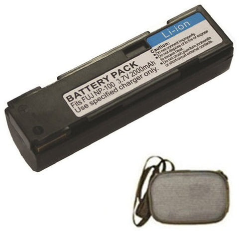 Extended Life Replacement Battery for Specific Digital Camera and Camcorder Models / Compatible with FujiFilm NP-100, FinePix MX-600, MX-600X, MX-600Z, MX-700, DS260 - Includes Hard Case Camera Bag