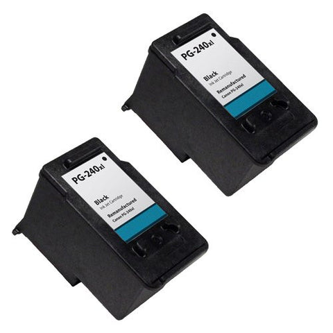 Canon PG-240XL, PIXMA MP2120, 2220 Remanufactured Replacement Ink Cartridges - Includes TWO BLACK Cartridges