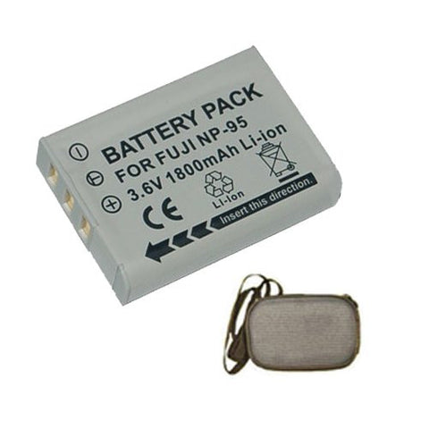 Extended Life Replacement Battery for Specific Digital Camera and Camcorder Models / Compatible with FujiFilm NP-95, FinePix F30, F31fd, REAL 3D W1, X100 - Includes Hard Case Camera Bag