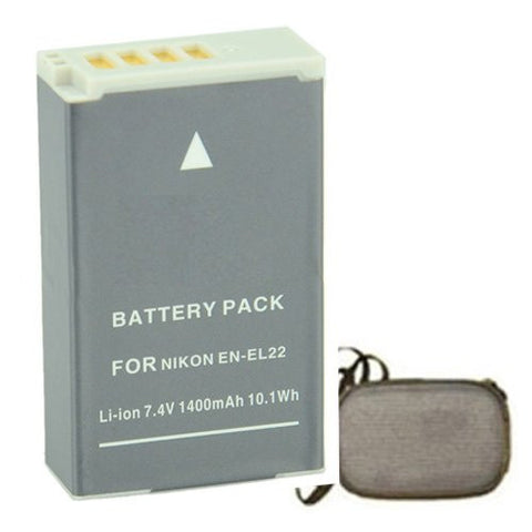 Extended Life Replacement Battery for Specific Digital Camera and Camcorder Models / Compatible with Nikon ENEL22, EN-EL22, 1 J4, 1 S2 - Includes Hard Case Camera Bag