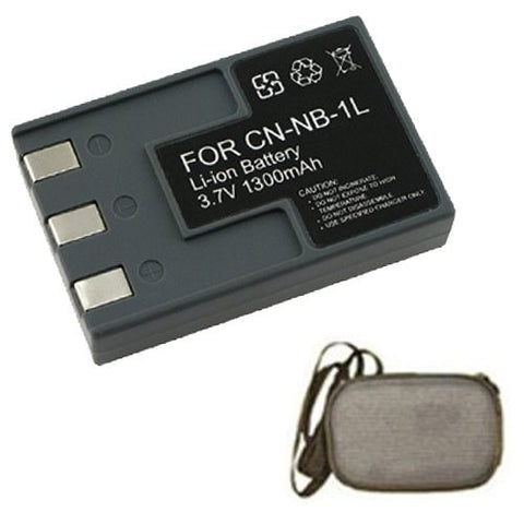 Extended Life Replacement Battery for Specific Digital Camera and Camcorder Models / Compatible with Canon NB-1L, NB1L, NB-1LH, NB1LH, PowerShot S100, S110, S200, S230, S300, S330, S400, S410, S500 - Includes Hard Case Camera Bag