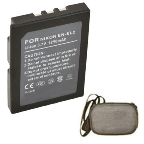 Extended Life Replacement Battery for Specific Digital Camera and Camcorder Models / Compatible with Nikon EN-EL2, ENEL2, Coolpix 2500, Coolpix 3500, Coolpix SQ - Includes Hard Case Camera Bag