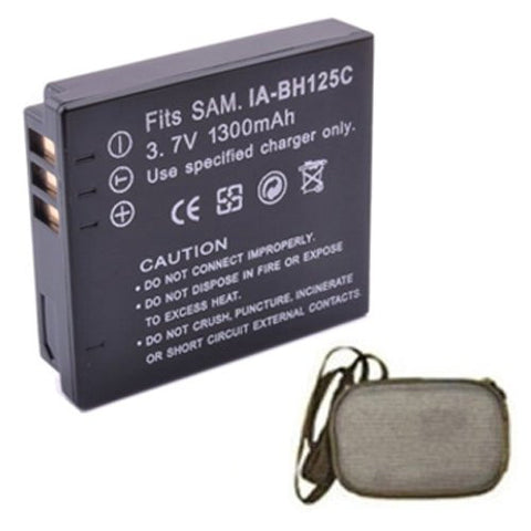 Extended Life Replacement Battery for Specific Digital Camera and Camcorder Models / Compatible with Samsung IA-BH125C, IABH125C, HMX-R10, HMXR10 - Includes Hard Case Camera Bag