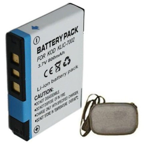 Extended Life Replacement Battery for Specific Digital Camera and Camcorder Models / Compatible with Kodak KLIC-7002, EasyShare V530, EasyShare V530 Zoom, EasyShare V603, EasyShare V603 Zoom - Includes Hard Case Camera Bag