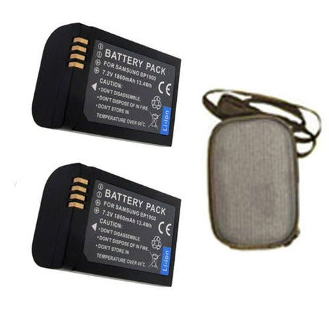 ValuePack (2 Count): Extended Life Replacement Battery for Specific Digital Camera and Camcorder Models / Compatible with Samsung BP1900 ,Samsung ED-BP1900 ,Samsung ED-BP1900/US, NX1 Camera - Includes Hard Case Camera Bag