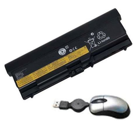 Amsahr® Replacement Battery for IBM / Lenovo 0A36303, W500, 42T4912, 51J0500 (9 Cell, 6600mAh) - Includes Mini Optical Mouse