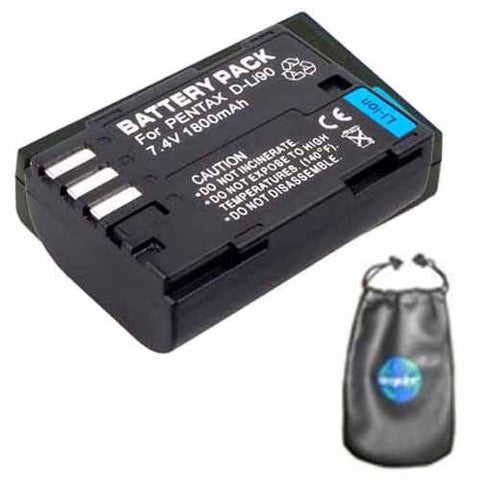 Digital Replacement Battery for Specific Digital Camera and Camcorder Models / Compatible with Pentax D-LI90, DLi90, K-5, K-5II, K-5IIs, K-7, K-01, 645D - Includes Leatherette Camera / Lens Accessories Pouch