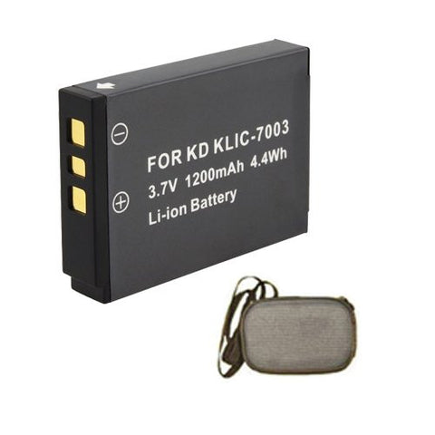Extended Life Replacement Battery for Specific Digital Camera and Camcorder Models / Compatible with Kodak KLIC-7003, EasyShare M381, V1003, V803, Z950, M380 - Includes Hard Case Camera Bag