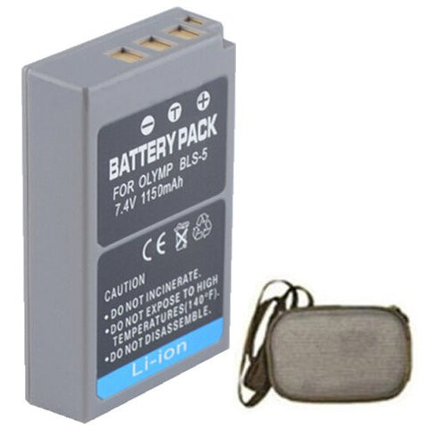 Extended Life Replacement Battery for Specific Digital Camera and Camcorder Models / Compatible with Olympus PS-BLS5, BLS-5, E-P3, E-PL3, E-PM1 - Includes Hard Case Camera Bag