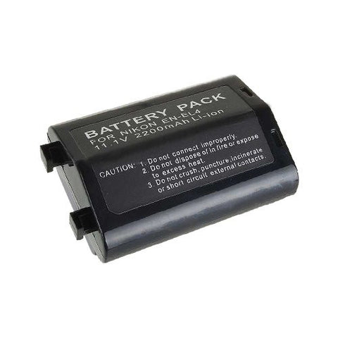 Extended Performance Replacement Battery for Specific Digital Camera and Camcorder Models / Compatible with Nikon EN-EL4, EN-EL4a, D2H, D2Hs, D2X, D2Xs, D3, F6, Battery models: Nikon EN-EL4, Camera models: Nikon D2H, D2Hs, D2X, D2Xs, D3, F6