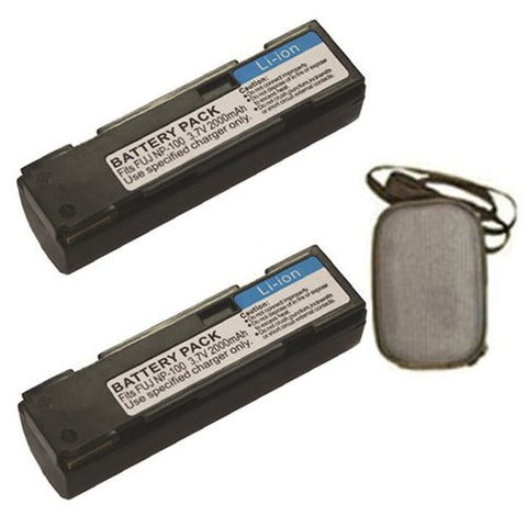 ValuePack (2 Count): Extended Life Replacement Battery for Specific Digital Camera and Camcorder Models / Compatible with FujiFilm NP-100, FinePix MX-600, MX-600X, MX-600Z, MX-700, DS260 - Includes Hard Case Camera Bag