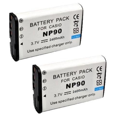 ValuePack (2 Count): Extended Performance Replacement Battery for Specific Digital Camera and Camcorder Models / Compatible with Casio NP-90, Exilim EX-H10