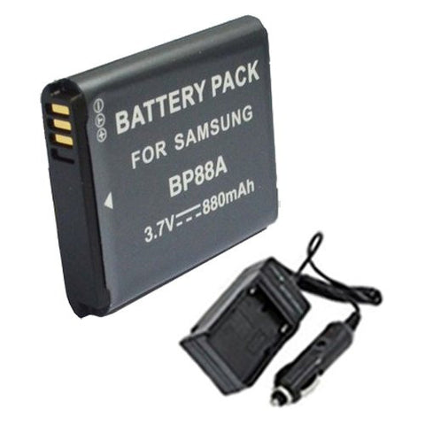 Extended Performance Replacement Battery PLUS Mini Battery Travel Charger for Specific Digital Camera and Camcorder Models / Compatible with Samsung BP-88A, DV200, DV300, DV300F Charges with Intelligent Charge Technology - Includes Car Adapter