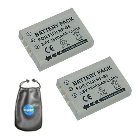 ValuePack (2 Count): Digital Replacement Battery for Specific Digital Camera and Camcorder Models / Compatible with FujiFilm NP-95, FinePix F30, F31fd, REAL 3D W1, X100 - Includes Leatherette Camera / Lens Accessories Pouch