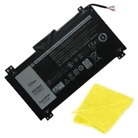 Amsahr® Replacement Battery for DELL 9KY5O, 9KY50, 4ICP3/40/72 (19Wh, 15.2V) - Includes Cleaning Cloth