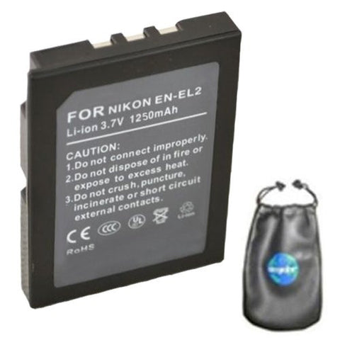 Digital Replacement Battery for Specific Digital Camera and Camcorder Models / Compatible with Nikon EN-EL2, ENEL2, Coolpix 2500, Coolpix 3500, Coolpix SQ - Includes Leatherette Camera / Lens Accessories Pouch