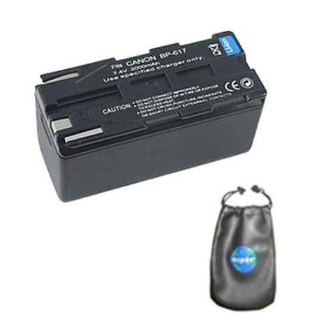 Digital Replacement Battery for Specific Digital Camera and Camcorder Models / Compatible with Canon BP-608, BP-608A, BP-617, DM-MV20i, DM-PV1, DV-MV20 - Includes Leatherette Camera / Lens Accessories Pouch