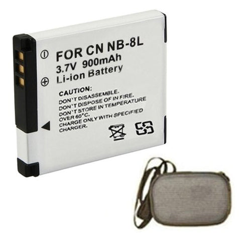 Extended Life Replacement Battery for Specific Digital Camera and Camcorder Models / Compatible with Canon NB-8L, Powershot A2200, Powershot A3300 IS, Powershot A3100 IS, Powershot A3000 IS, Powershot A3200 IS - Includes Hard Case Camera Bag