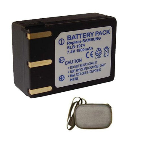 Extended Life Replacement Battery for Specific Digital Camera and Camcorder Models / Compatible with Samsung SLB-1974, SLB1974, Pro 815, Pro 815SE - Includes Hard Case Camera Bag