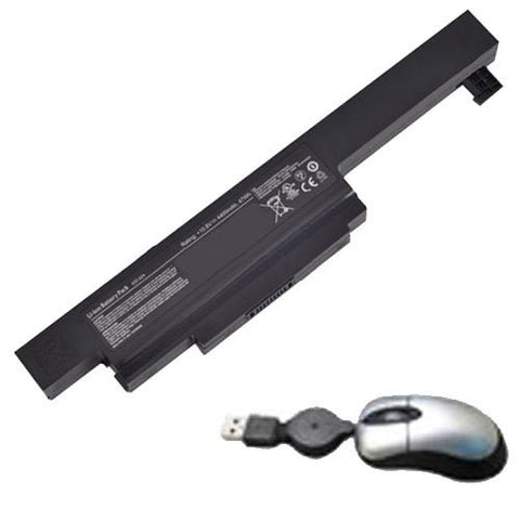 Amsahr® Replacement Battery for MSI A32-A24, MSI CX480, CX480MX (11.1V, 4400mAh) - Includes Mini Optical Mouse